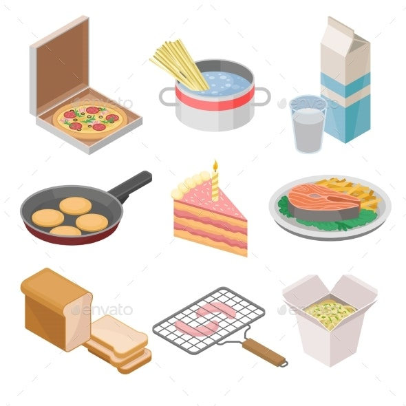 Vector Set of 9 Isometric Food Icons. Italian - Food Objects