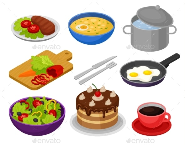 Vector Set of Isometric Food Icons. Fried Eggs - Food Objects