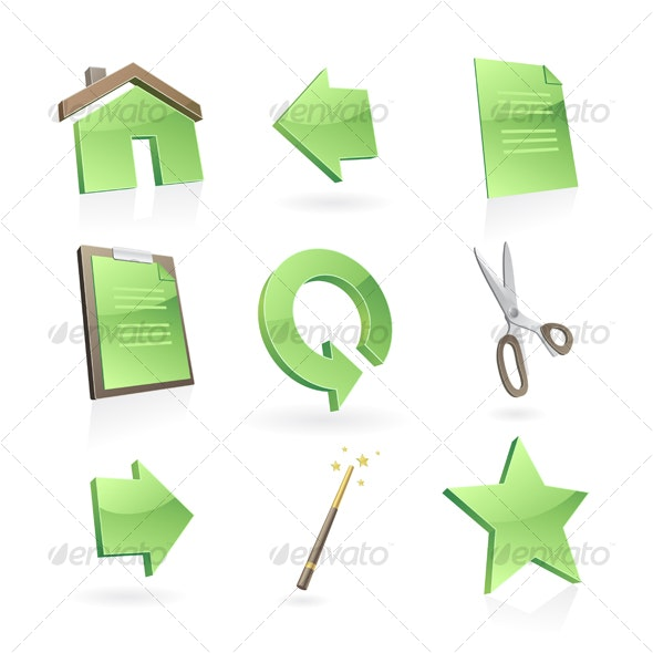 Green icons set  - Decorative Symbols Decorative