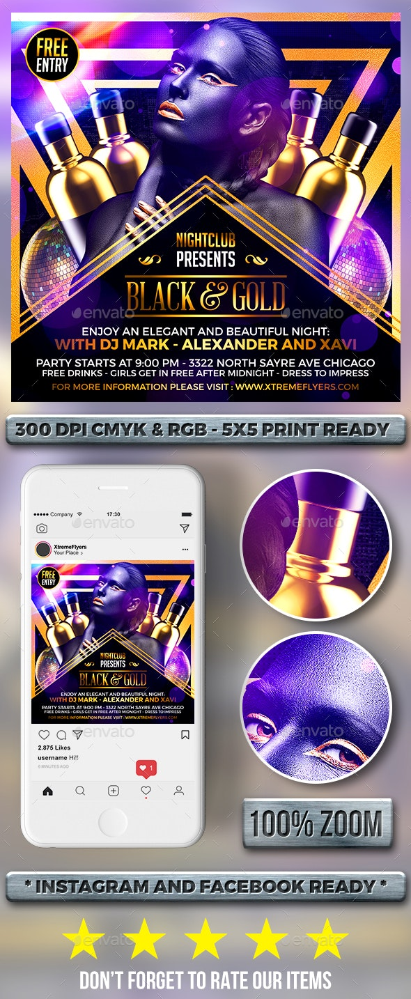 Black and Gold Flyer - Clubs & Parties Events