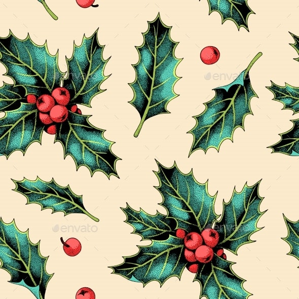 Seamless Pattern with Holly Leaves and Berries - Christmas Seasons/Holidays