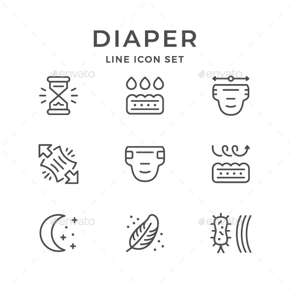 Set Line Icons of Diaper - Man-made objects Objects
