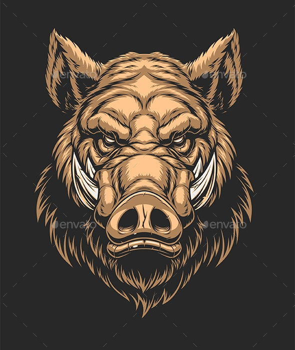 Head of Ferocious Boar - Animals Characters