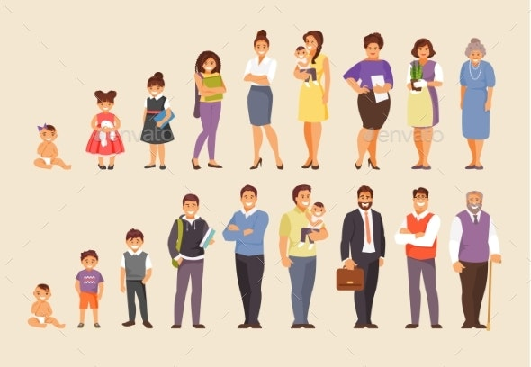 Growing Stages Vector - People Characters
