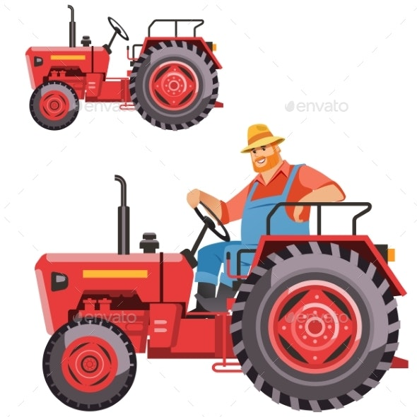 Farmer Tractor Driving - Animals Characters