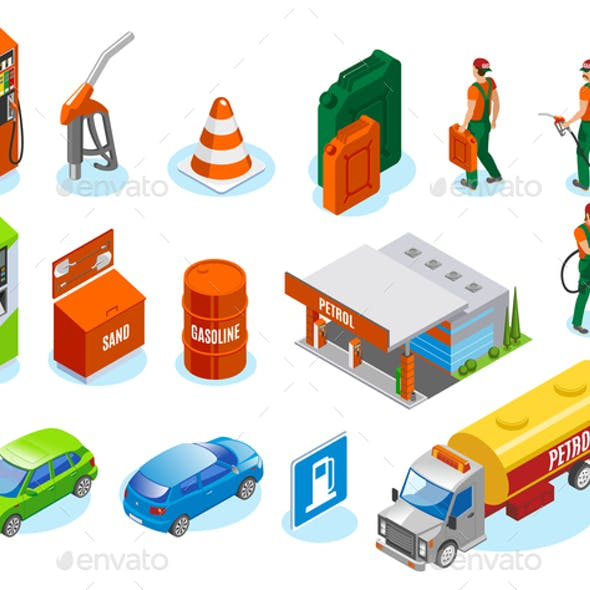 Isometric Gas Station Icons