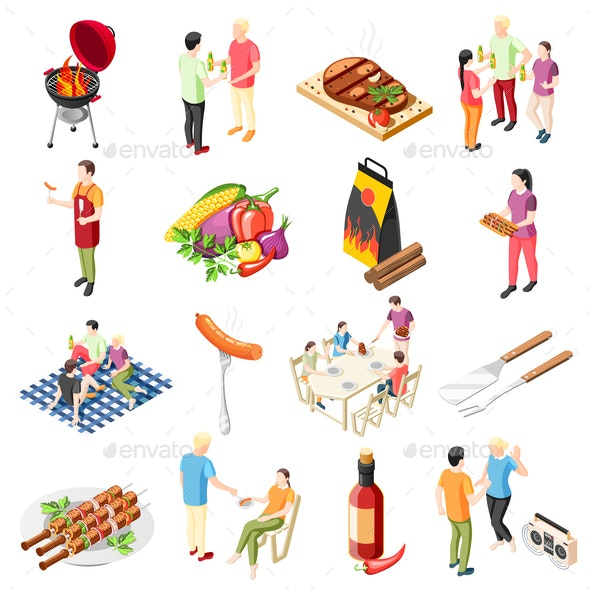 Barbecue Products Icon Set - Food Objects
