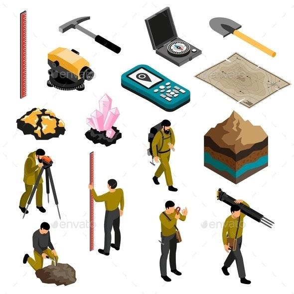 Geologist Isometric Set - Miscellaneous Vectors