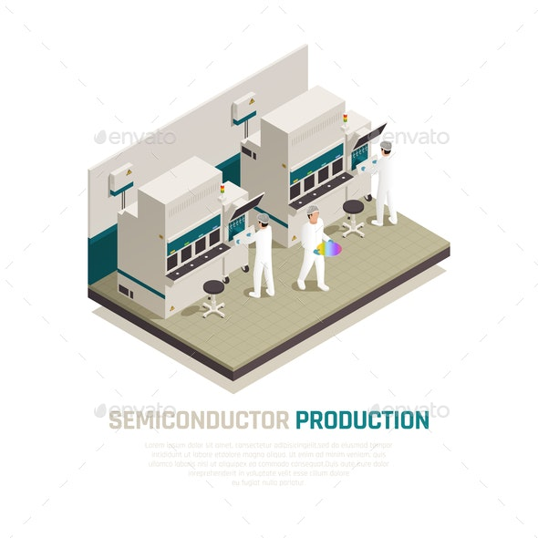 Silicon Factory Isometric Background - Industries Business