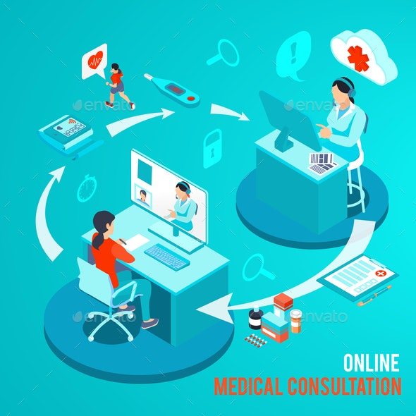 Online Medical Consultation Isometric Illustration - Health/Medicine Conceptual