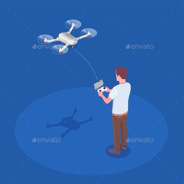 Remote Controlled Quadrocopter Composition - Sports/Activity Conceptual
