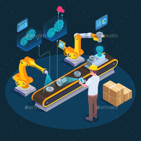 Industrial Augmented Reality Isometric Composition - Industries Business