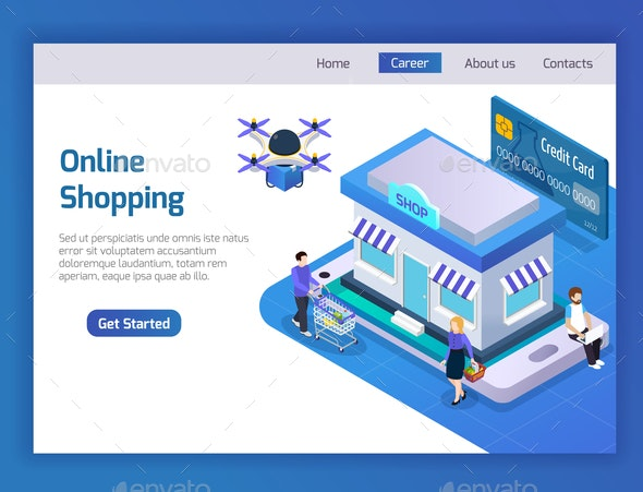 E-Commerce Isometric Composition - Concepts Business