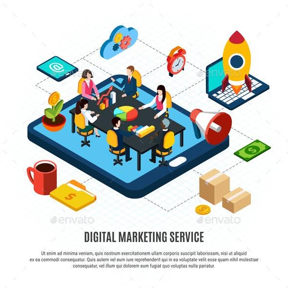 Digital Marketing Isometric Flowchart - People Characters