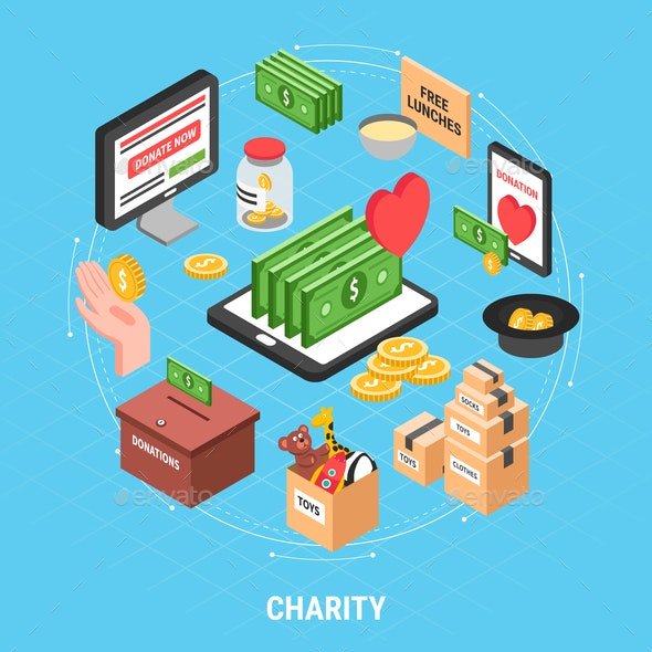 Charity Isometric Design Concept - Concepts Business