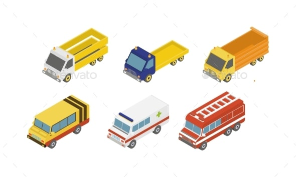City Service Cars Set - Man-made Objects Objects