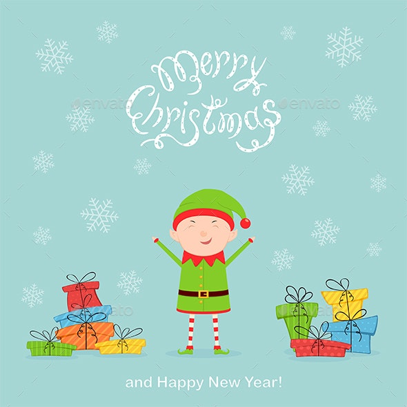 Elf with Colored Presents on a Blue Christmas Background - Christmas Seasons/Holidays