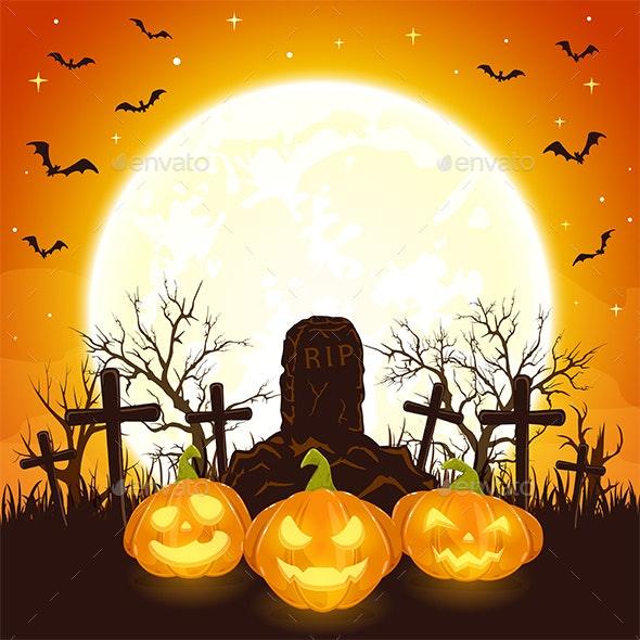 Orange Halloween Background with Pumpkins and Cross - Halloween Seasons/Holidays