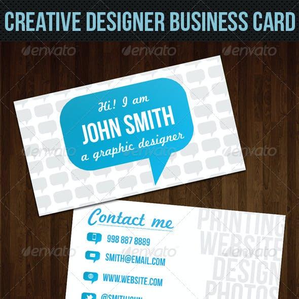 Blue Talk Bubble Creative Designer Business Card
