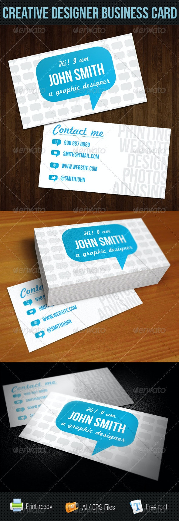 Blue Talk Bubble Creative Designer Business Card  - Creative Business Cards
