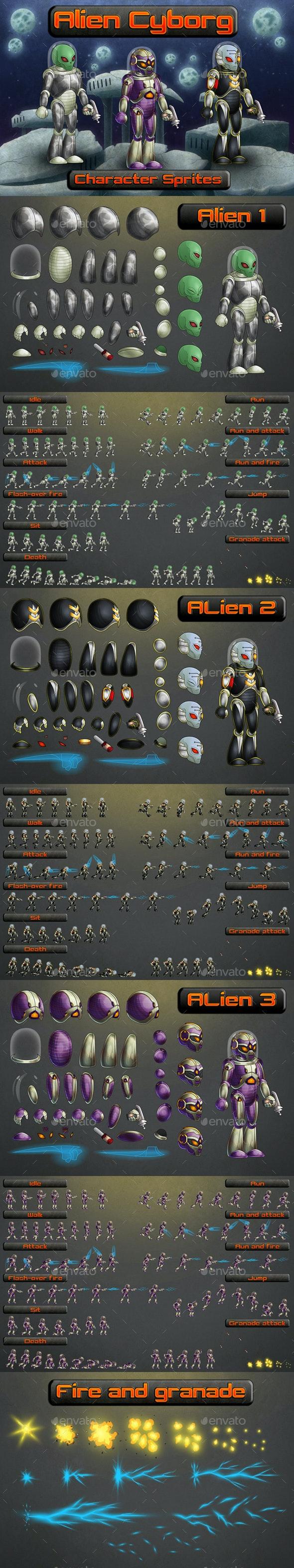 Alien Cyborg 2D Sprites - Sprites Game Assets