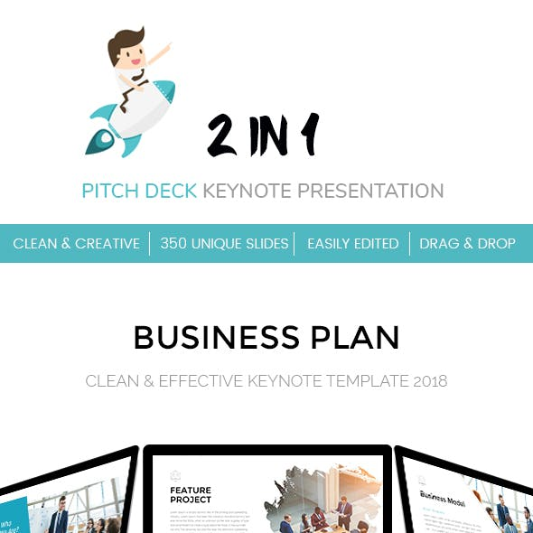 2 in 1 Clean Pitch Deck Keynote Template