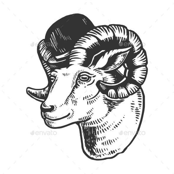 Ram Animal in Bowler Hat Engraving Vector - Man-made Objects Objects