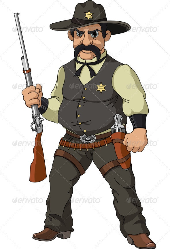 Wild west.  Cartoon sheriff - People Characters