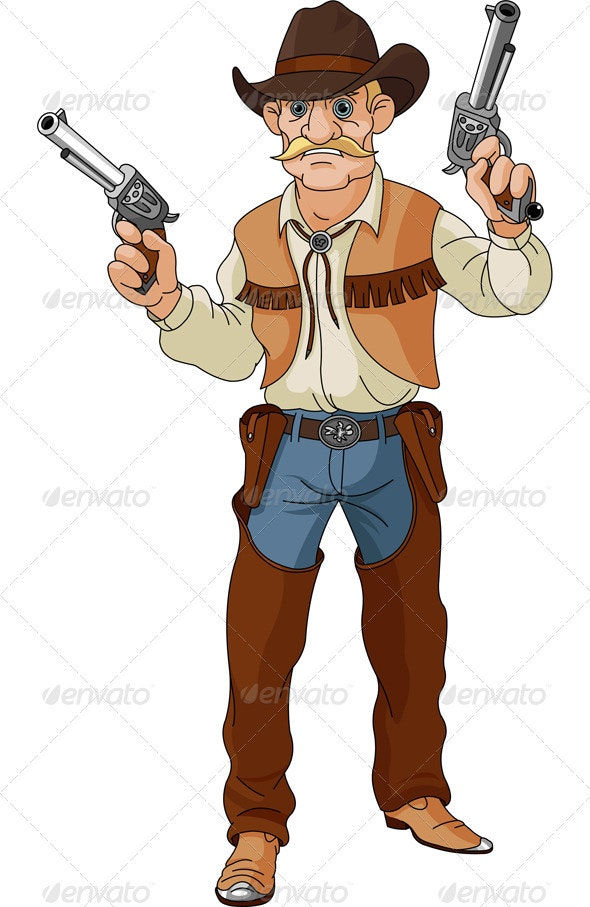 Wild west.  Cowboy  ready for shootout - People Characters