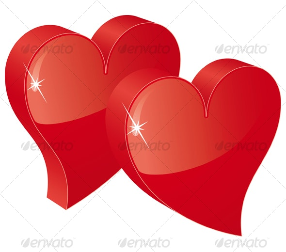 two red hearts - Valentines Seasons/Holidays