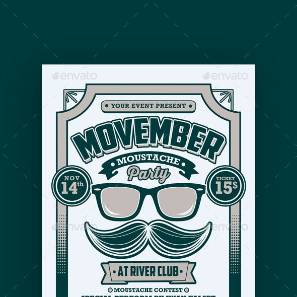 Movember Moustache Party Flyer