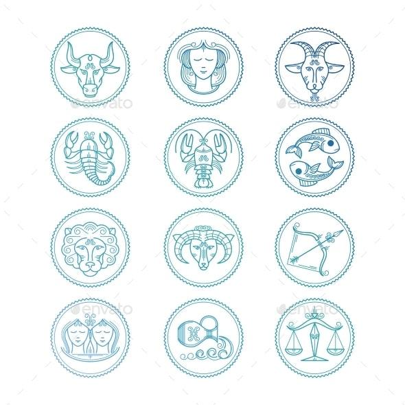 Line Icons Zodiac Signs Vector Set - Miscellaneous Vectors