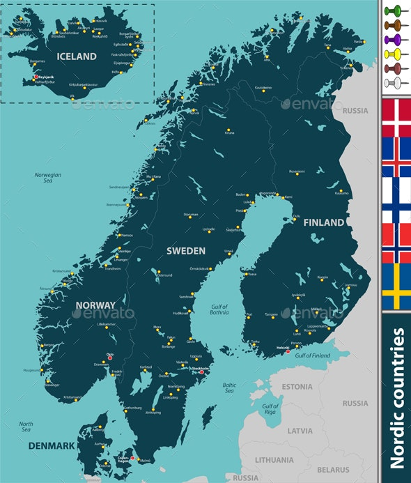 Map of Nordic Countries - Travel Conceptual