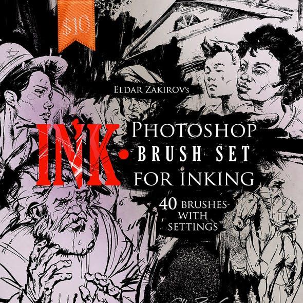 INK. 40 Photoshop Brushes for Inking + Photoshop Action