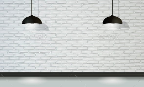 White Brick Wall with Black Lamps in Vector - Backgrounds Decorative