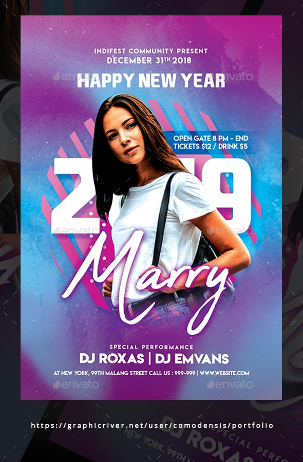 New Year Dj Flyer Templates - Clubs & Parties Events