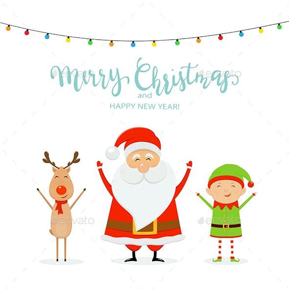 Text Merry Christmas Santa with Reindeer and Elf - Christmas Seasons/Holidays
