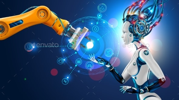 Robot with artificial intelligence. AI of factory. Robotic arm. Industrial automation manufacturing - Computers Technology