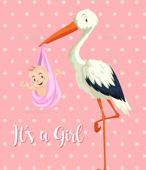 Stork with Baby Girl on Pink Background - Animals Characters