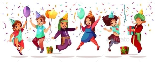 Children Nationalities Birthday Vector Celebration - People Characters