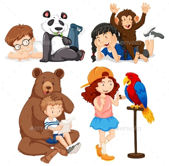 Set of Children and Animals - Animals Characters