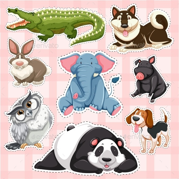 Sticker Set for Wild Animals on Pink Background - Animals Characters