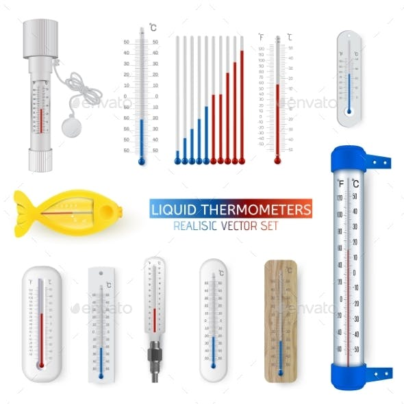Vector Set Realistic Thermometer Isolated on White