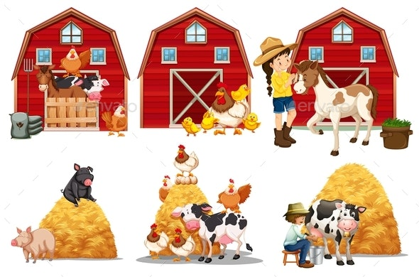 Set of Farm Element - Animals Characters