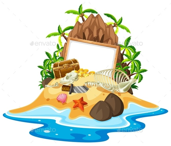 Island with Treasure Chest and Blank Whiteboard - Miscellaneous Conceptual