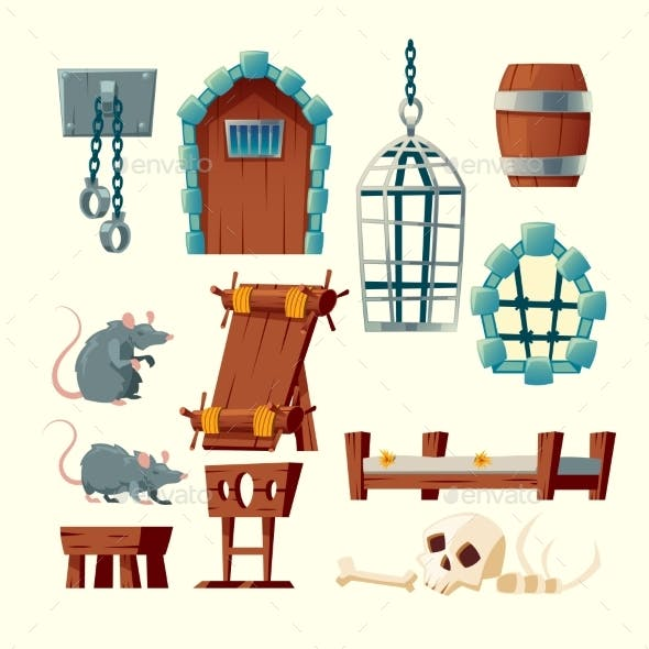 Vector Cartoon Medieval Prison Set