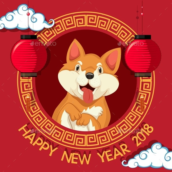 New Year Card With Dog and Chinese Style Background - Animals Characters