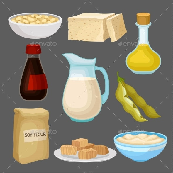 Soya Food Products Set, Milk, Oil, Sauce, Tofu - Food Objects
