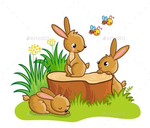 Rabbits Sitting Around the Stump - Animals Characters