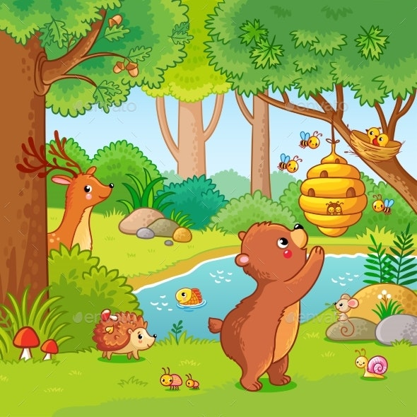 Vector Illustration with a Bear Who Wants Honey - Animals Characters